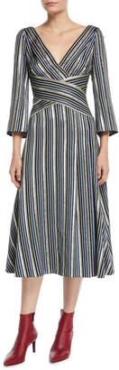 Peter Pilotto 3/4-Sleeve Shimmer-Striped Midi Dress