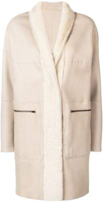 Sprung Frères lamb fur shawl collar coat