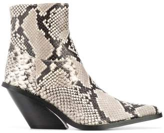 Couture Gia python print ankle boots