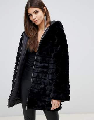 Lipsy reversible faux fur puffer jacket with hood in black