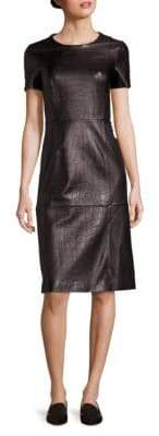 HUGO BOSS Syzilia Croc-Embossed Leather Dress