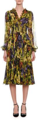 Dolce & Gabbana Long-Sleeve Ruched-Waist V-Neck Grape-Print Midi Dress