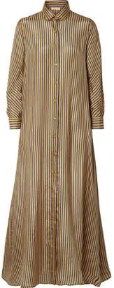 Mes Demoiselles Breedy's Striped Silk Shirt Dress - Navy