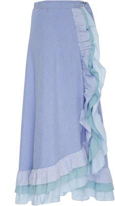 Luisa Beccaria Ruffled Cotton-Blend Maxi Skirt