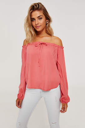Ardene Basic Semi-Sheer Peasant Top
