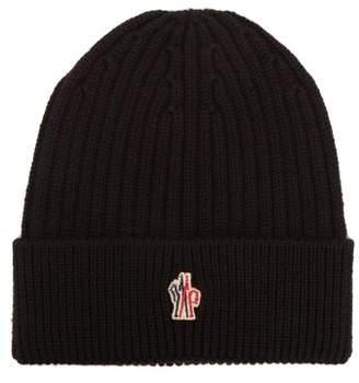 Moncler Logo Virgin Wool Beanie Hat - Mens - Black