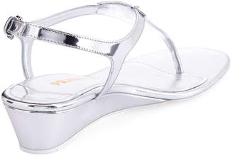 Prada Metallic Patent Demi-Wedge Thong Sandal