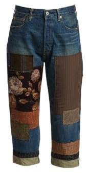 Junya Watanabe Floral Patchwork Cropped Jeans