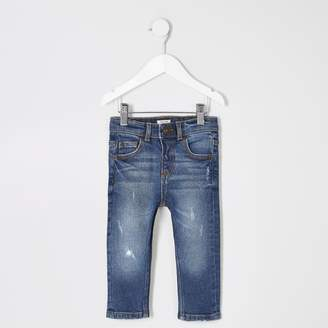 River Island Mini boys Blue skinny Sid ripped jeans