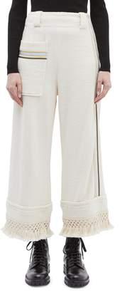 3.1 Phillip Lim Tassel cuff patch pocket stripe border terry culottes