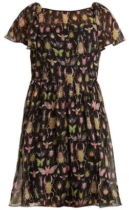 RED Valentino Bug Print Crinkle Chiffon Dress - Womens - Black Multi