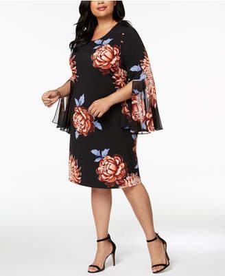 MSK Plus Size Floral-Print Bell-Sleeve Dress