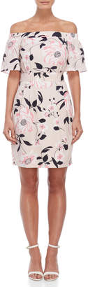 Eliza J Floral Off-the-Shoulder Belted Dress