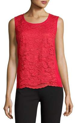 Joan Vass Lace-Inset Sleeveless Shell, Plus Size