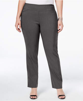 Charter Club Plus Size Cambridge Tummy-Control Check-Printed Pull-On Pants, Created for Macy's