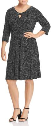 Leota Plus Lianne Dot-Print Keyhole Dress