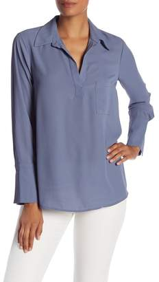 Pleione Pleated Back Chiffon Hi-Lo Blouse