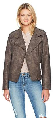 Catherine Malandrino Women's Washed Faux Suede Moto Jacket