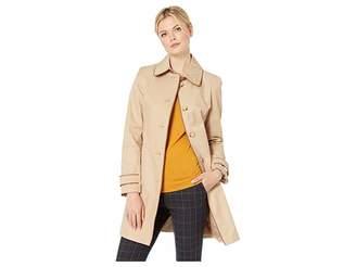 Lauren Ralph Lauren Single Breasted Rain Coat with Faux Leather Trim