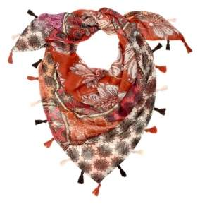 Laundry by Shelli Segal Patchwork Floral Double-Sided Triangle Scarf