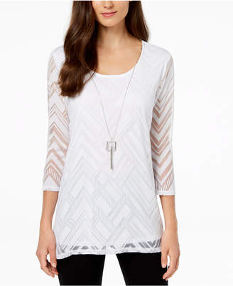 JM Collection Petite Sheer-Overlay Removable-Necklace Top