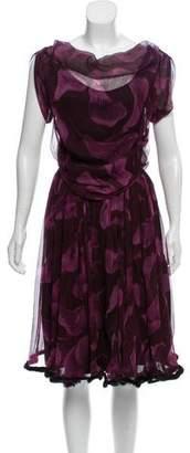 Nina Ricci Silk Mink-Trimmed Dress