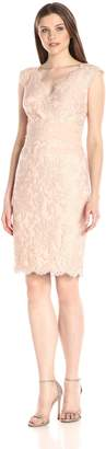 Tadashi Shoji Women's V-Neck Embroided Lace Dress with Banded Waist Detail