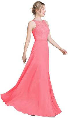 Loffy Women's Long Prom Dress Bridesmaid Dress Lace Chiffon Evening Gown