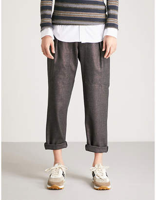Brunello Cucinelli Checked high-rise tapered stretch-wool trousers