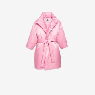Balenciaga Short Paddded Coat in pink nylon satin