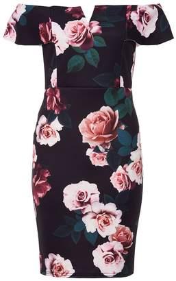 Quiz Black Floral Bardot Midi Dress