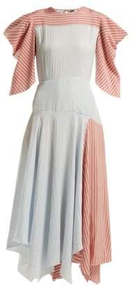 Anna October - Striped Panelled Midi Dress - Womens - Blue Multi