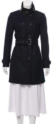 The Kooples Wool Double-Breasted Trench Coat