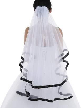 Alexzendra Ivory/White 2 Tier Ribbon Edge Wedding Veil Bridal Veil with Free Comb
