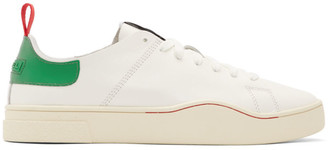 Diesel White and Green S-Clever LS Low Sneakers