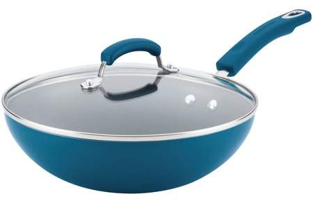 "Rachael Ray Aluminum Nonstick Stir Fry Pan with Glass Lid, 11"", Marine Blue Gradient Hard Enamel"