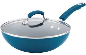 "Rachael Ray Aluminum Nonstick Stir Fry Pan with Glass Lid, 11"", Marine Blue Gradient Hard Enamel"