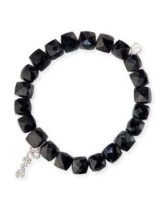 Sydney Evan Black Spinel Beaded Bracelet with 14k White Gold/Diamond Love Charm