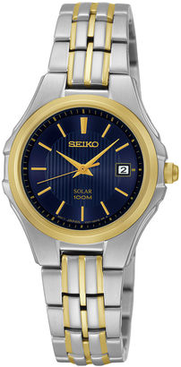 Seiko Womens Two-Tone Stainless Steel Solar Bracelet Watch SUT224 $250 thestylecure.com