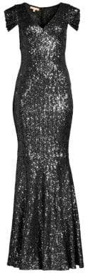Michael Kors Gathered Cap-Sleeve Sequin Gown