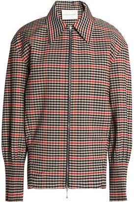 Marco De Vincenzo Fringe-Trimmed Checked Twill Jacket