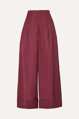 Golden Goose Cassia Canvas And Linen-blend Wide-leg Pants - Purple