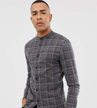 Asos DESIGN Tall skinny fit denim check shirt