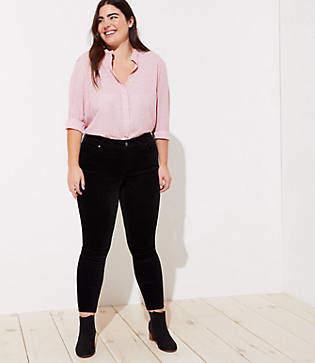 LOFT Plus Modern Velvet Skinny Jeans in Black