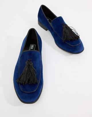 Asos Design DESIGN loafers in navy velvet with tassel detail