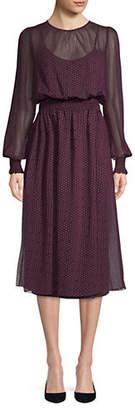 Tommy Hilfiger Smocking Dot Midi Dress