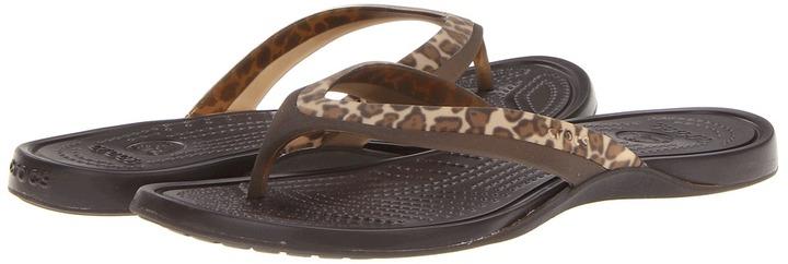 Crocs Adrina Leopard Print Flip Flop (Espresso/Espresso) - Footwear