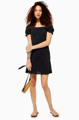 Topshop PETITE Black Jacquard Mini Square Neck Tea Dress