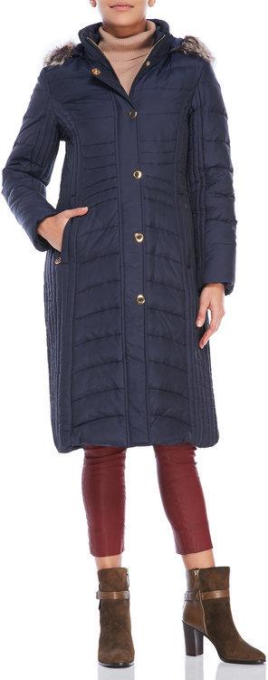 Anne Kleinanne klein Faux Fur Trim Hooded Long Puffer Coat