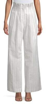 Rebecca Taylor Women's Striped Wide-Leg Pants - Snow Black - Size 2